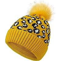 ROSEBEAR Sombrero de Punto para Mujer Sombrero de Bola de Pompón de Moda con Estampado de Leopardo de Invierno (Amarillo…