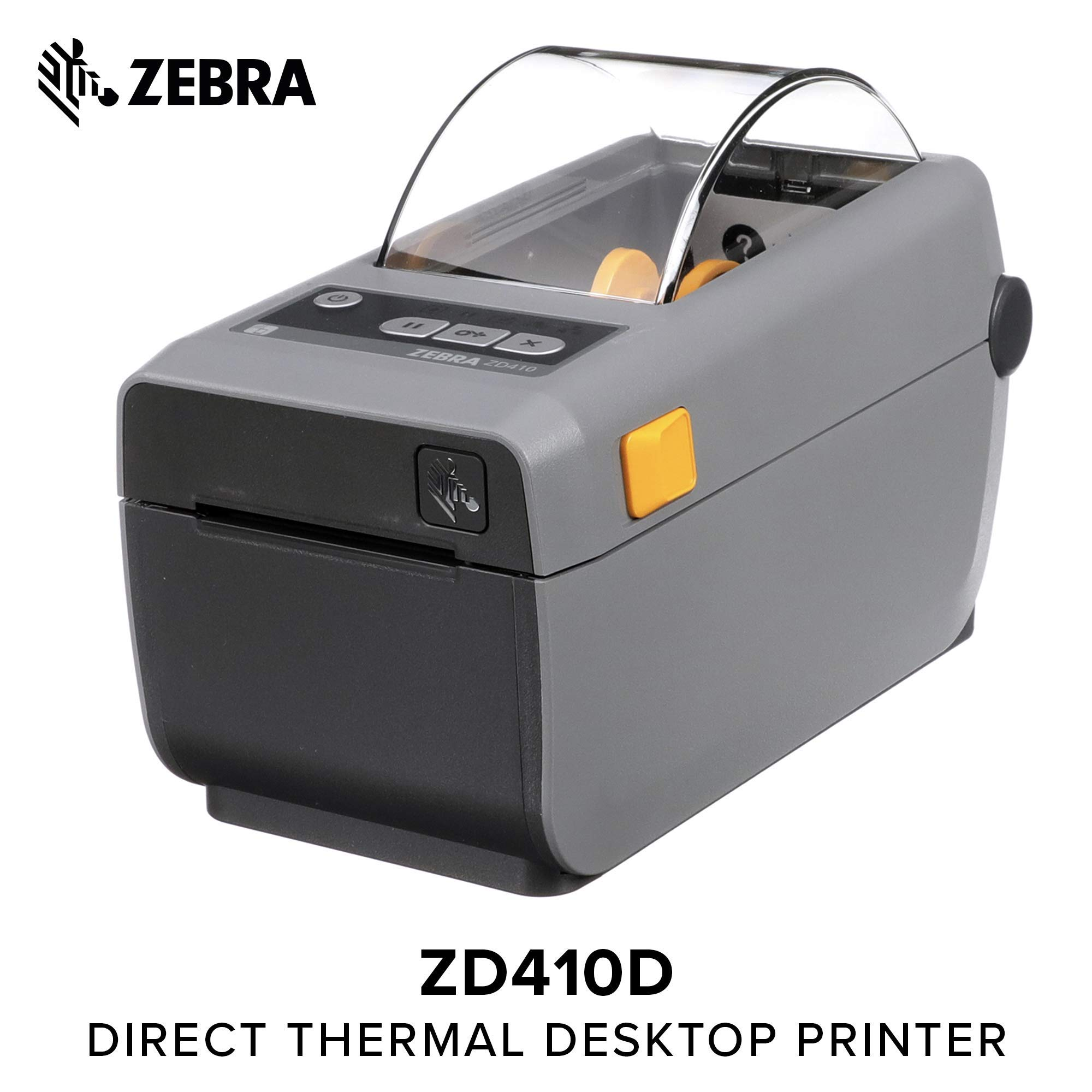 Zebra - ZD410 Wireless Direct Thermal Desktop Printer for Labels, Receipts, Barcodes, Tags, and Wrist Bands - Print Width of 2 in - USB and Bluetooth Low Energy Connectivity (Renewed)