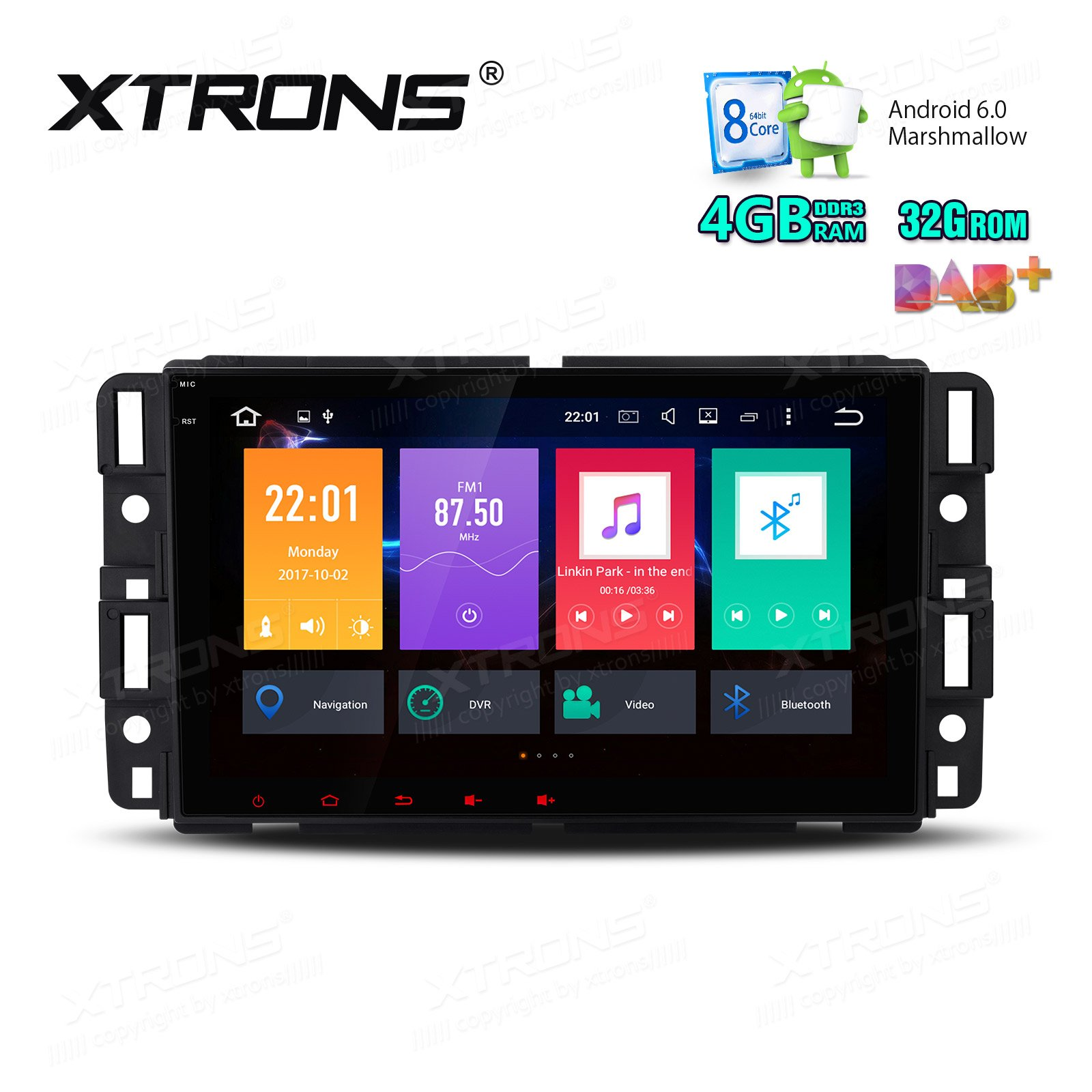 XTRONS 8 Inch Octa Core Android 6.0 Multi Touch Screen Car Stereo Player GPS for Chevrolet GMC Buick