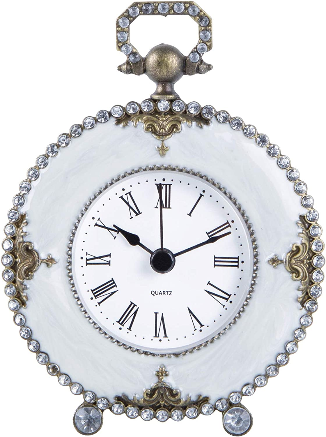 NIKKY HOME Pewter Vintage Small Quartz Table Clock 4 x 1.5 x 5.3 inch, White