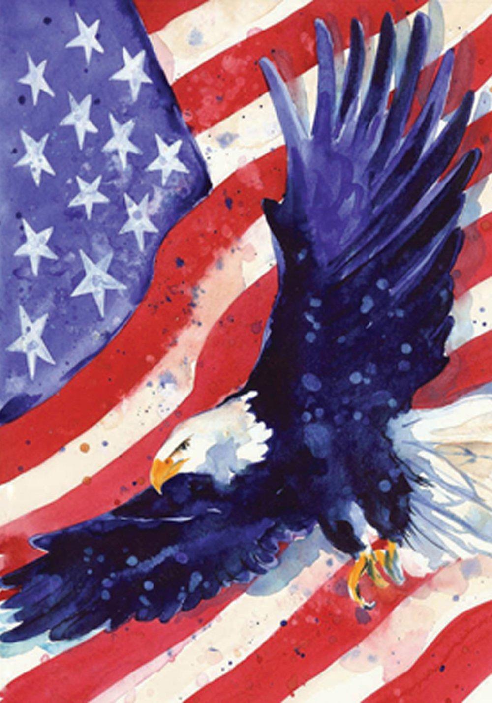 """Toland Home Garden 108227 Liberty Eagle House Flag, (28"""" x 40"""")"""