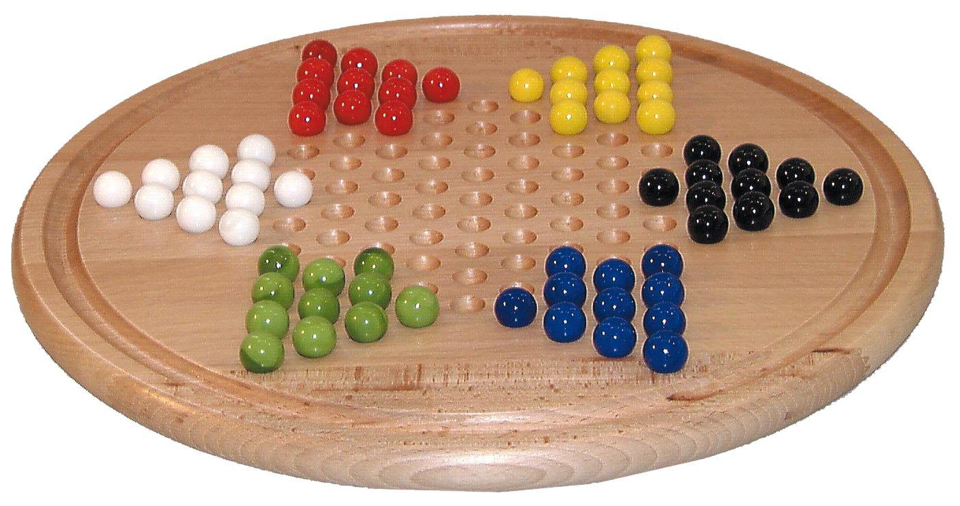 Smir–523608–Brettspiel–Damen chinesischen rund Buchenholz hell