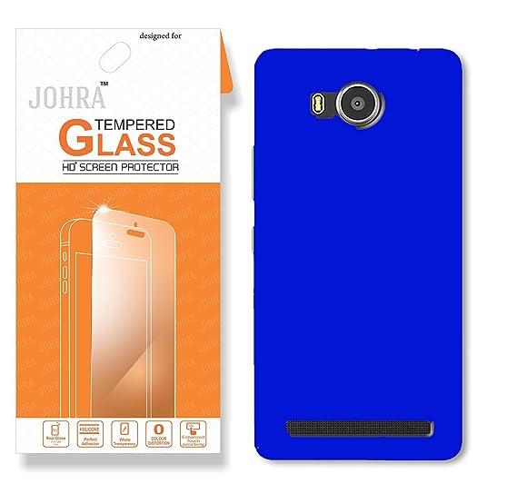 Johra For Lenovo A7700 Back Cover Real HD Tempered Glass Combo Hard Plastic Dark Blue