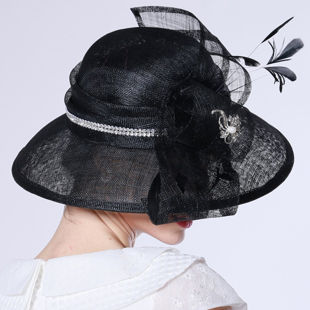 f58d205cddd June s Young Women Hat Sun Hat Organza Fashion Hat Ruffle Wave Brim Wide  Brim (Black Hat) at Amazon Women s Clothing store