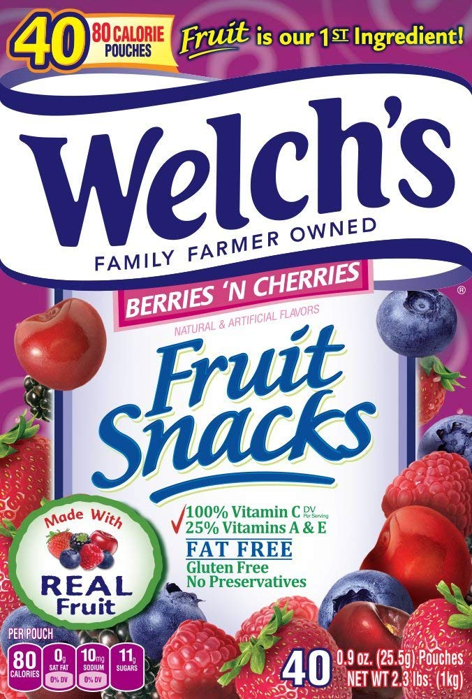 WELCH'S Berries 'n Cherries Fruit Snacks, 0.9 Ounce, 65 Count (65 Count) by Welch's (Image #2)
