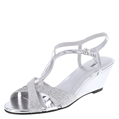543f8574d3 Fioni Silver Shimmer Women's Grace Low-Heel Wedge 13 Regular: Amazon ...