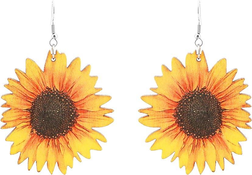 Sunflower Earrings - Handmade Wood Gifts