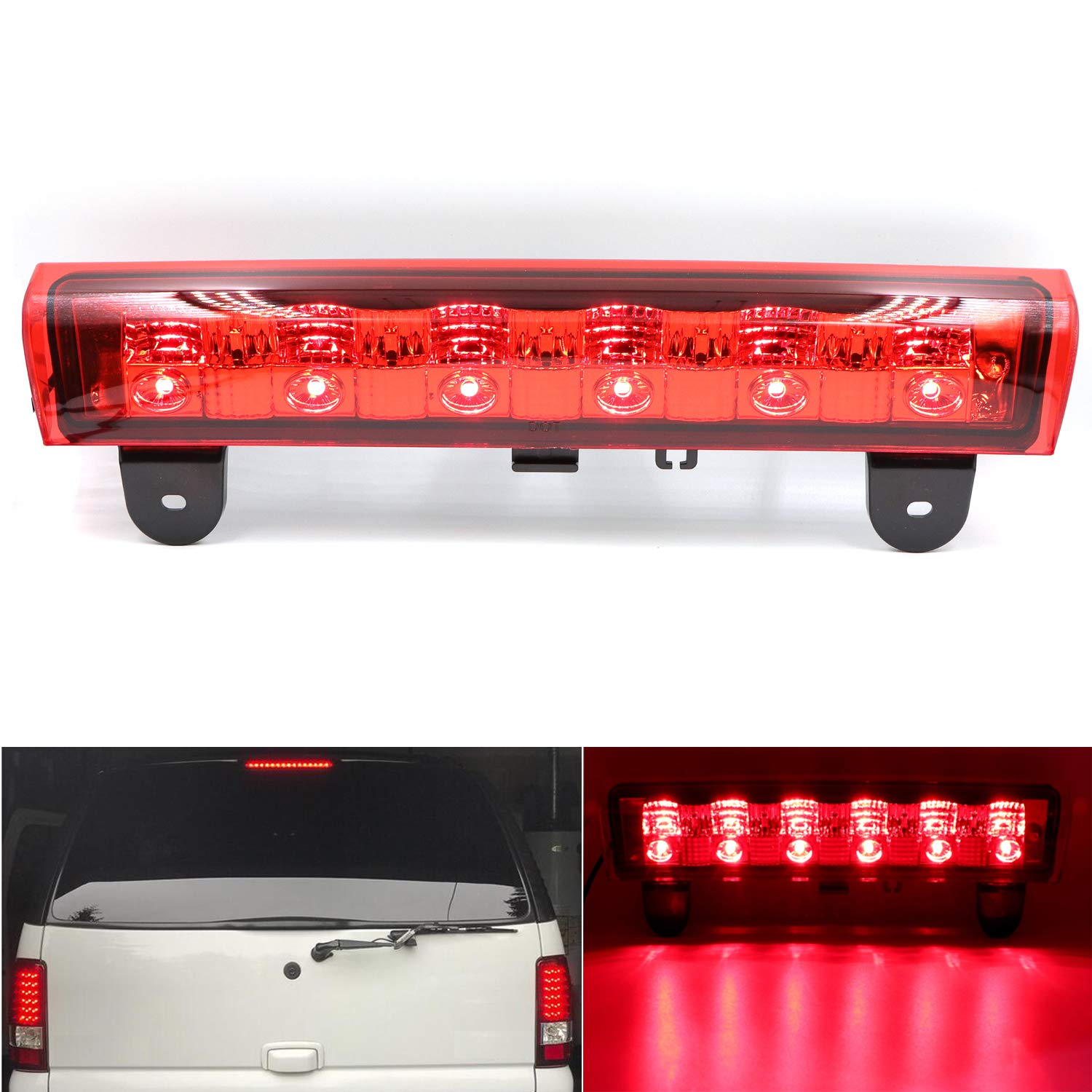 Full LED Third 3rd Brake Cargo Light Center High Mount Stop Light Replace fit for 2000-2006 Chevy Suburban Tahoe (Smoke) Yepwell