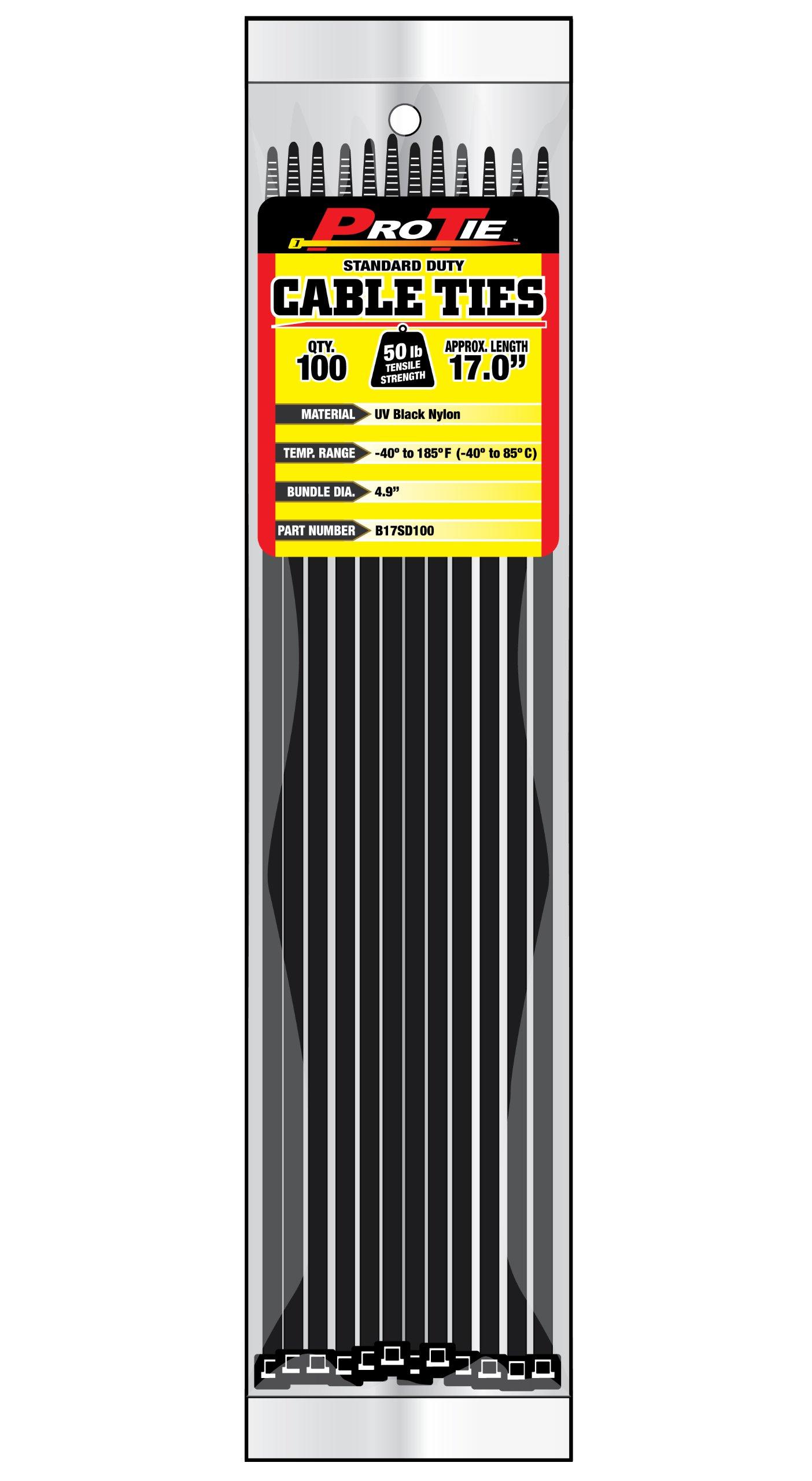 Pro Tie B17SD100 17-Inch Standard Duty Cable Tie, UV Black Nylon, 100-Pack