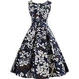 Wellwits Women's Print High Waist Pleated Tea Party 1950s Vintage Swing Dress