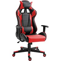 Mahmayi Gaming Chair High Back Computer Chair Pu Leather Desk Chair Pc Racing Executive Ergonomic Adjustable Swivel Task Chair With Headrest and Lumbar Support (Red)