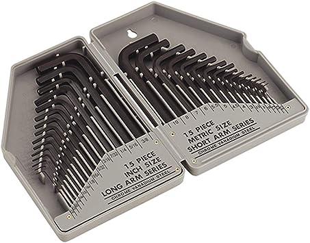 30pc Large Hex Allen Key Set Metric Imperial 0 7mm 10mm Amazon Co Uk Diy Tools