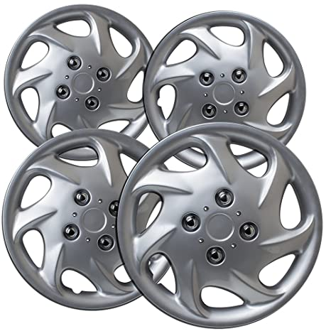15 inch Hubcaps Best for 1993-2001 Nissan Altima - (Set of 4) Wheel Covers 15in Hub Caps Silver Rim Cover - Car Accessories for 15 inch Wheels - Snap On ...