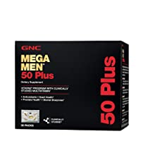 GNC Mega Men 50 Plus Vitapak, 30 Packs, Support Heart and Prostate Health and Promotes...
