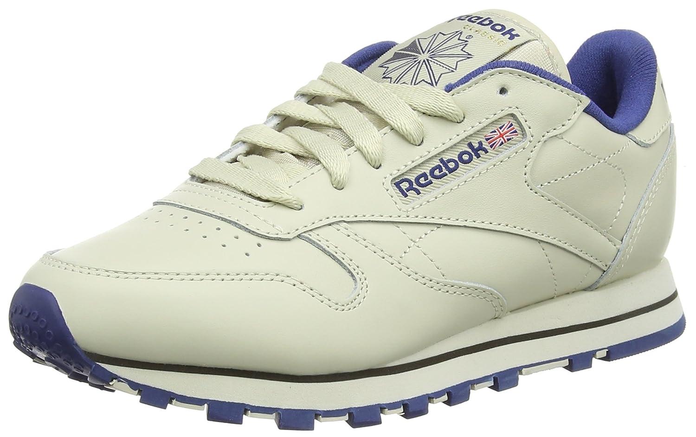 Reebok Classic Leather - Zapatillas de Cuero para Hombre 40.5 EU|Beige (Ecru/Navy)