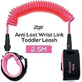 J-eaS Kid Walking Leash Child Anti Lost Wrist Link Toddler Safety Harness Walking Hand Belt 2.5M (8.2FT) - Pink