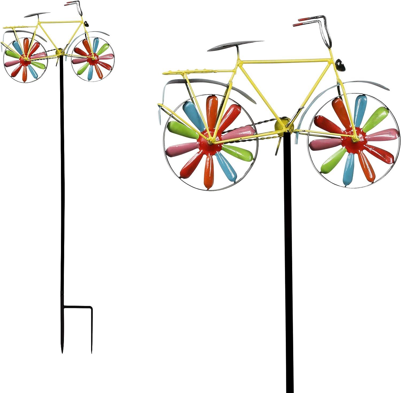 "Alpine Corporation Alpine JUM134HH Colorful Bicycle Windmill, Outdoor, 42"" Tall, Multicolor Decorative Garden Stake"