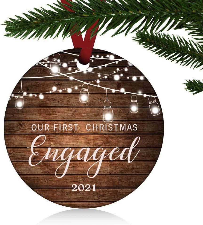 ZUNON First Christmas Engaged Ornaments 2021 Our First Christmas New Home Married Wedding Decoration 3