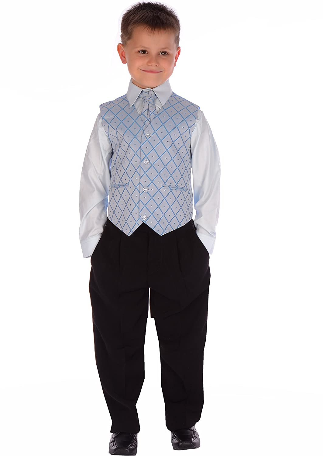 Boys Suits Black and Blue Suit Wedding Formal Pageboy Usher 4 Piece Age 0-3 month to 14-15 years
