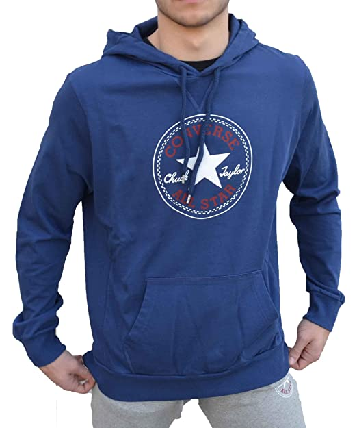 4967Q felpa uomo CONVERSE ALL STAR blu sweatshirt men