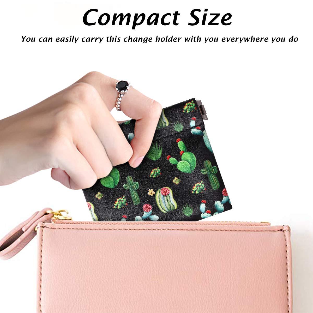 Supgear Porte-Monnaie Petite Portemonnaie Squeeze Coin Pouch Change Purse Holder Wallet Mignonne Motif Cuir Femme Cactus