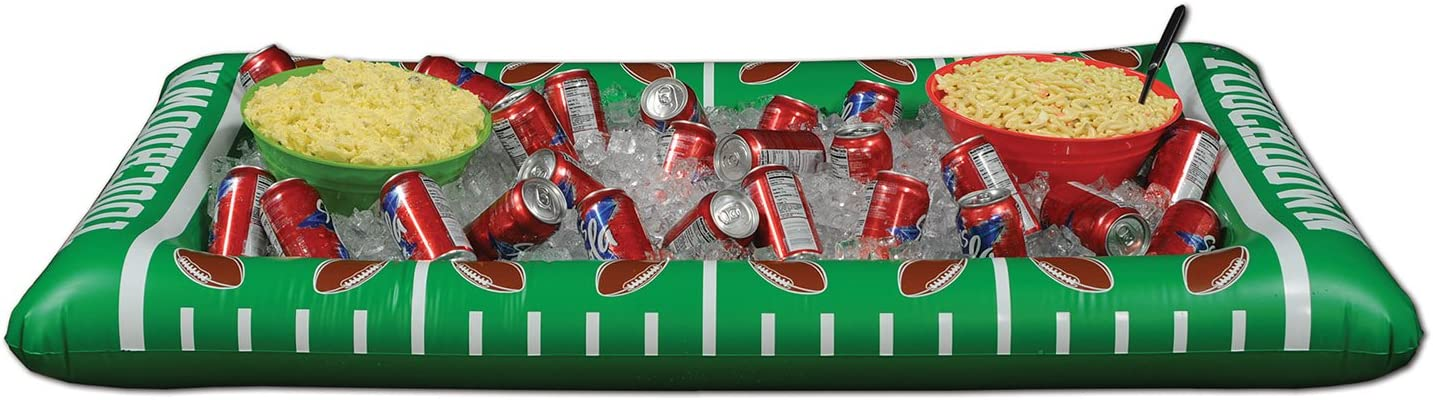 Beistle 1-Pack Inflatable Football Buffet Cooler for Parties, 28-Inch Width by 4-Feet 5-3/4-Inch Length