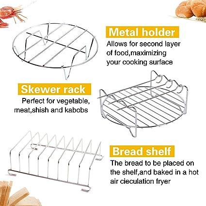 Accesorios para la freidora de aire, kits universales de accesorios, con la forma por el pastel/cacerola por la pizza/apoyo metálico/asador de espetón/forma ...