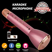 Microphone for Kids,Wireless Karaoke Microphone, Portable Bluetooth Microphone with Speaker, Karaoke Machine for Kids Singing iPhone iPad Android PC Smartphones(Pink)