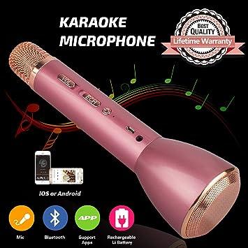 Micrófono para niños, karaoke inalámbrico Bluetooth micrófono con altavoz Niños portátil máquina de karaoke para familia KTV partido exterior niños ...