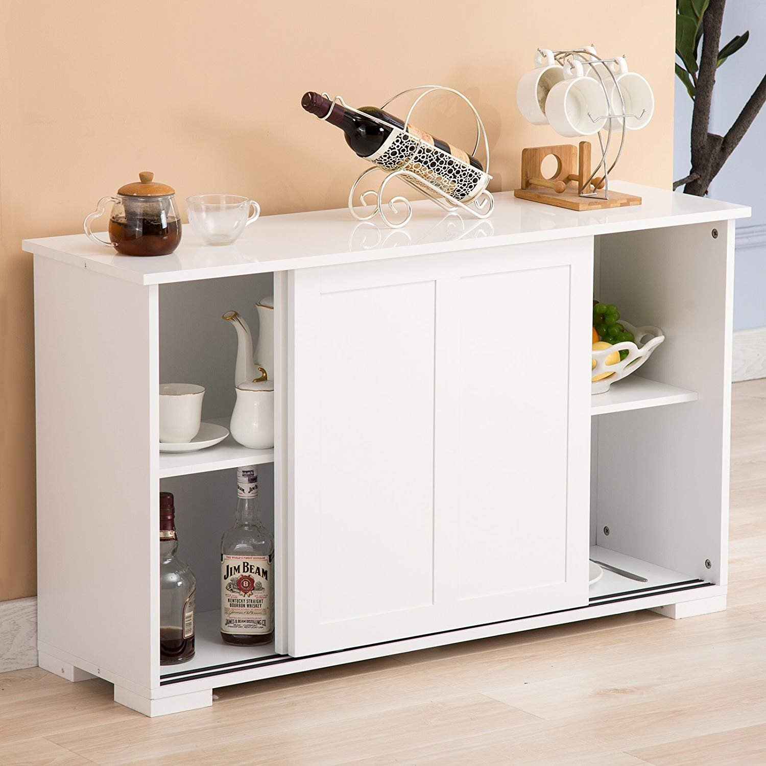Mecor Kitchen Cupboard Buffet Storage Cabinet Sideboard 2 Sliding Doors/1 Shelf Dining Room Furniture, White