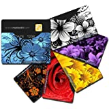 BLOCKIT Credit Debit Card Protector Sleeves - Best for RFID Blocking, Travel Security and Fraud Prevention - Perfect Slim Fit for all Mens and Womens Wallets - Designer Set of 6 - Includes 2016 ID Theft Protection eBook - Recommended by Lifelock (Floral Top Load)