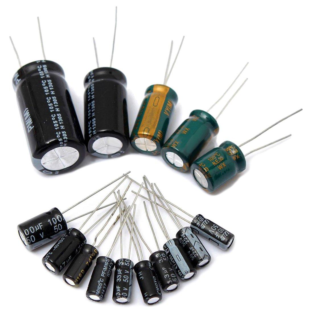 SODIAL(R) 120Pcs 15 value 50V 1uF-2200uF Electrolytic Capacitor Assortment Kit Set New