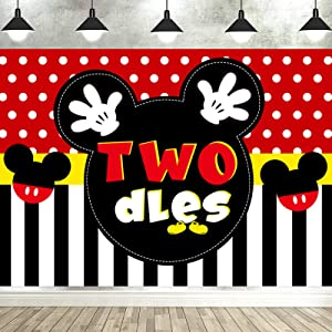 7x5 FT Mickey 2nd Birthday Photography Backdrop Mickey Inspired Oh Twodles Photo Background Mouse Boy's Second Birthday Party Supplies Photo Studio Props Decorations Banner