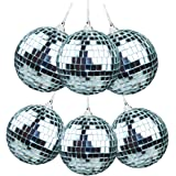 "Ivenf 6 Pack of 5cm/2"" Each Christmas Mirror Wedding/Party Ornaments Disco Mirror Ball"