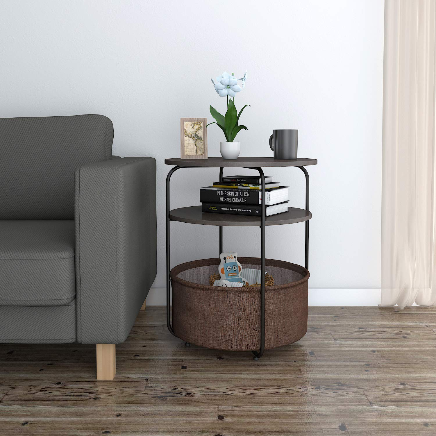 Lifewit Round Side Table End Table with Fabric Storage Basket in Livingroom, Nightstand in Bedroom, Super Easy to Assemble, Drak Brown by Lifewit