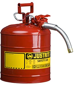 """Justrite 7250130 Galvanized Steel, AccuFlow Type II Red Safety Can 1"""" Flexible Spout, Large ID Zone, Meets OSHA & NFPA Handling Hazardous Liquids. 5 Gallon (19L) Size"""