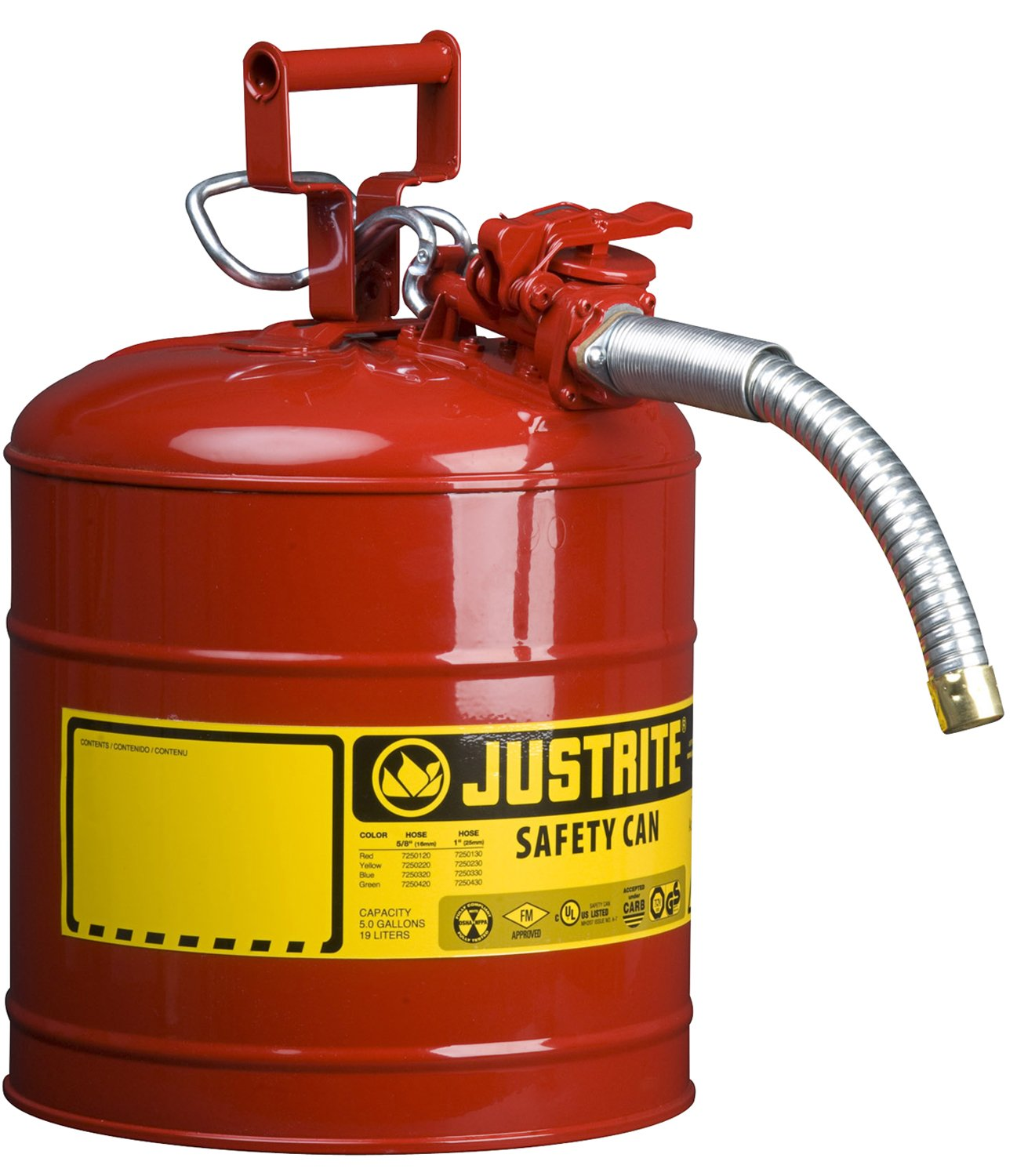 Justrite 7250130 Galvanized Steel, AccuFlow Type II Red Safety Can with 1'' Flexible Spout, Large ID zone, Meets OSHA & NFPA For Handling Hazardous liquids. 5 Gallon (19L) Size.