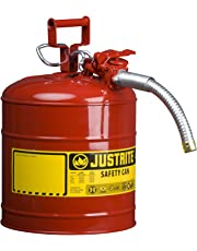 "Justrite 7250130 Galvanized Steel, AccuFlow Type II Red Safety Can with 1"" Flexible Spout, Large ID Zone, Meets OSHA & NFPA for Handling Hazardous Liquids. 5 Gallon (19L) Size."