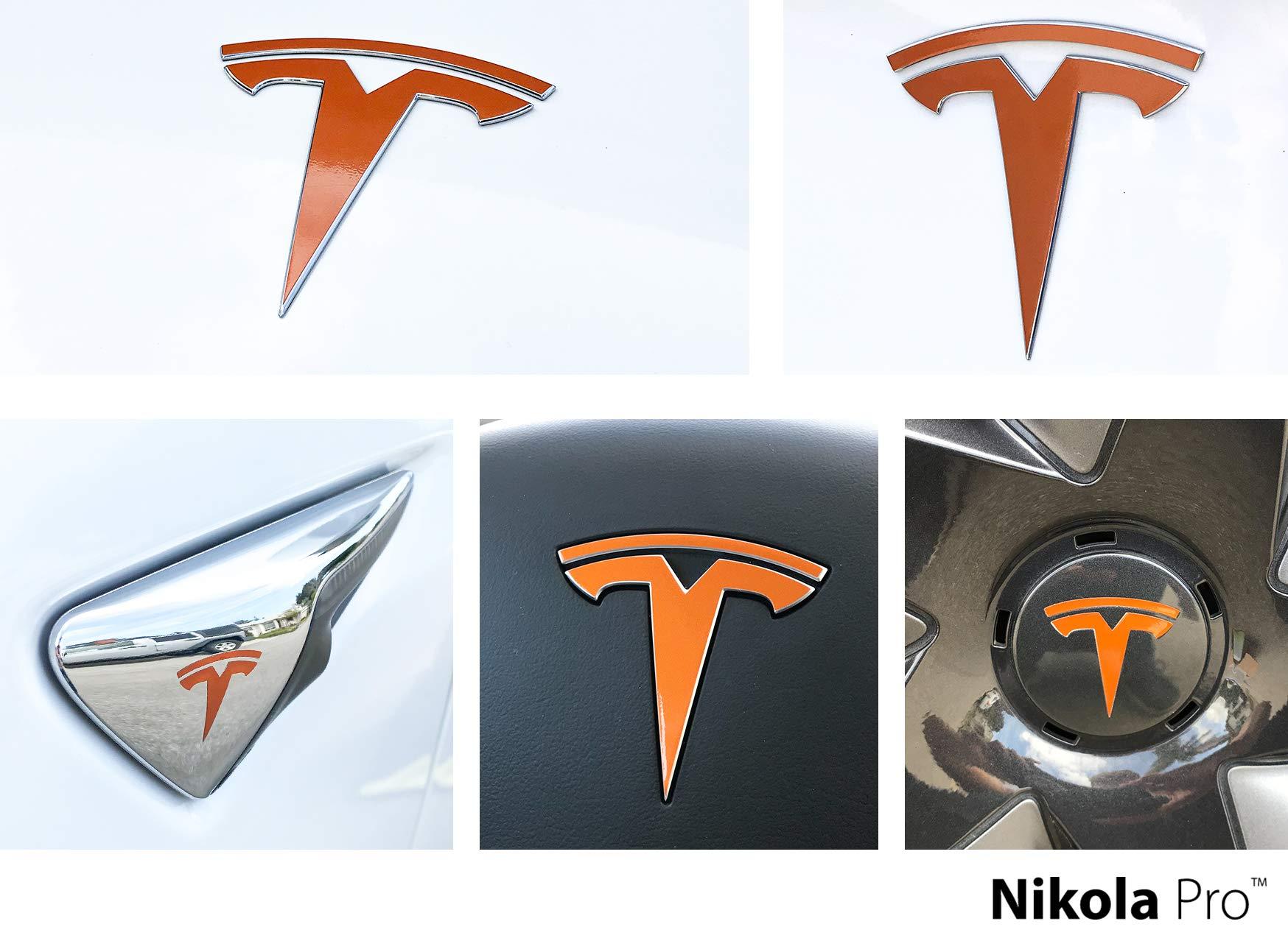 Nikola Pro Tesla Model 3 Logo Decal Wrap Kit (Gloss Orange)