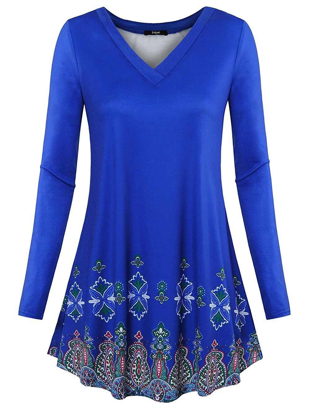 aae7b805c4d Simple designs grace the front of this feminine Laksmi tunic tops,completing  with long cozy sleeves and a casual flowy A-line hem.