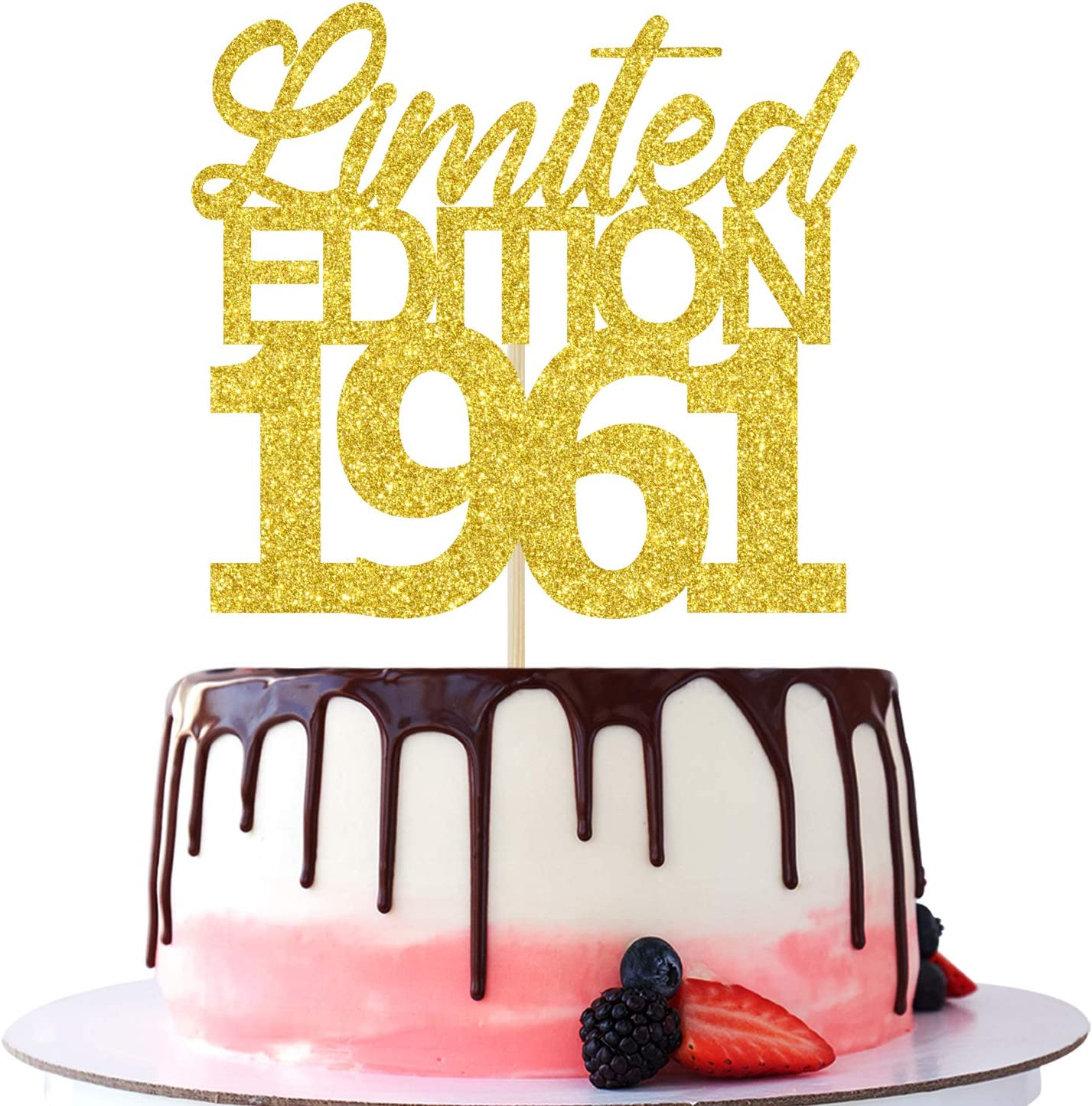 Limited Edition 1961 Cake Topper, 60 and Fabulous - Hello 60, Cheers to 60 Years/ 60th Birthday /Wedding /Anniversary Party Decorations Gold Glitter