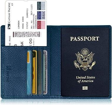 Portefeuille Passeport en Cuir pour Femme et Homme Carte didentit Carte dembarquement Lychii PU Voyage Protecteur Portefeuille Pochette /étui de Protection pour Passeport Bleu