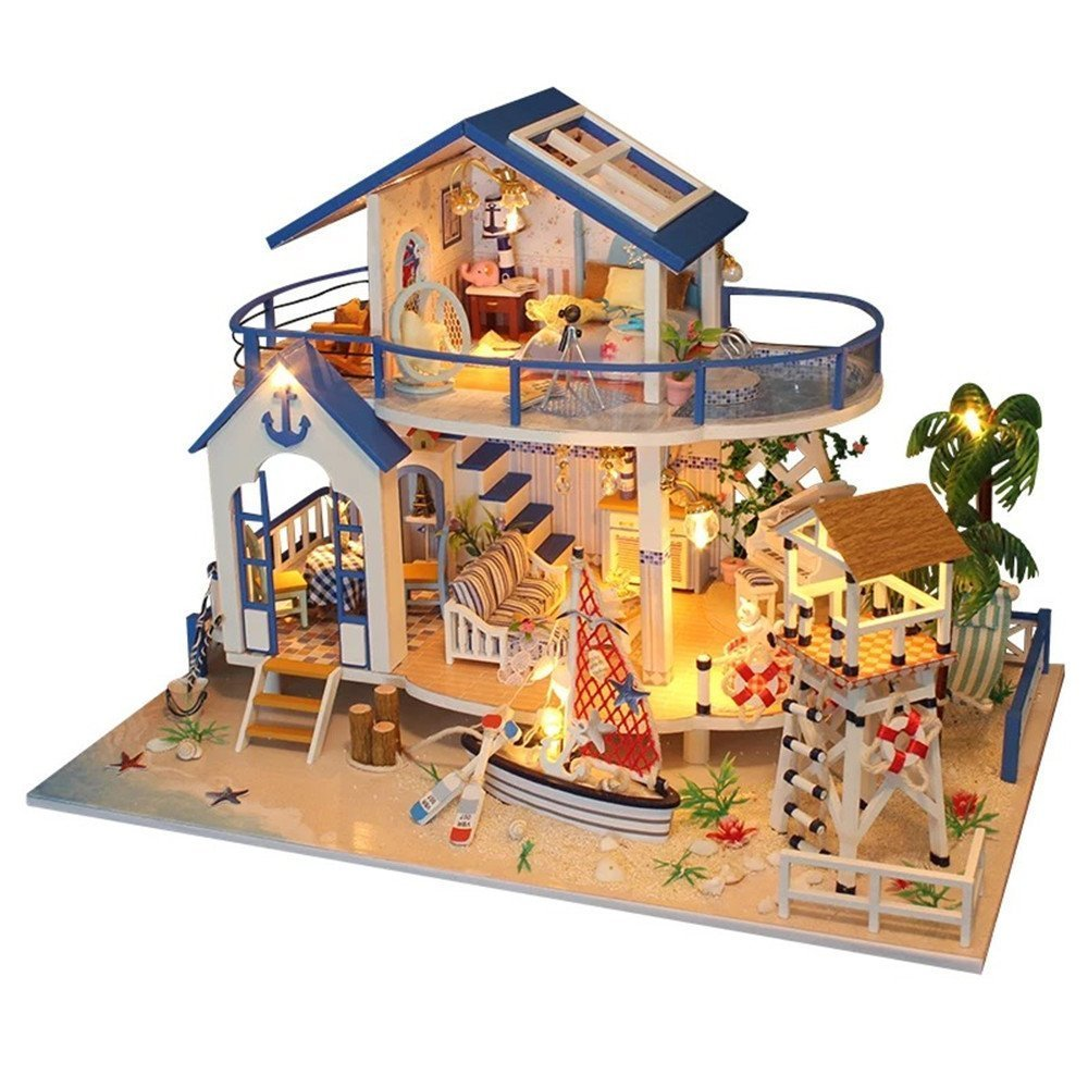 Flever Dollhouse Miniature DIY Music House Kit Manual Creative With Furniture for Romantic Artwork Gift Dust Proof Cover For Tale Of Blue Sea