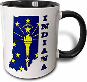 """3dRose mug_58736_4""""Indiana state flag in the outline map and letters for Indiana"""" Two Tone Black Mug, 11 oz, Multicolor"""