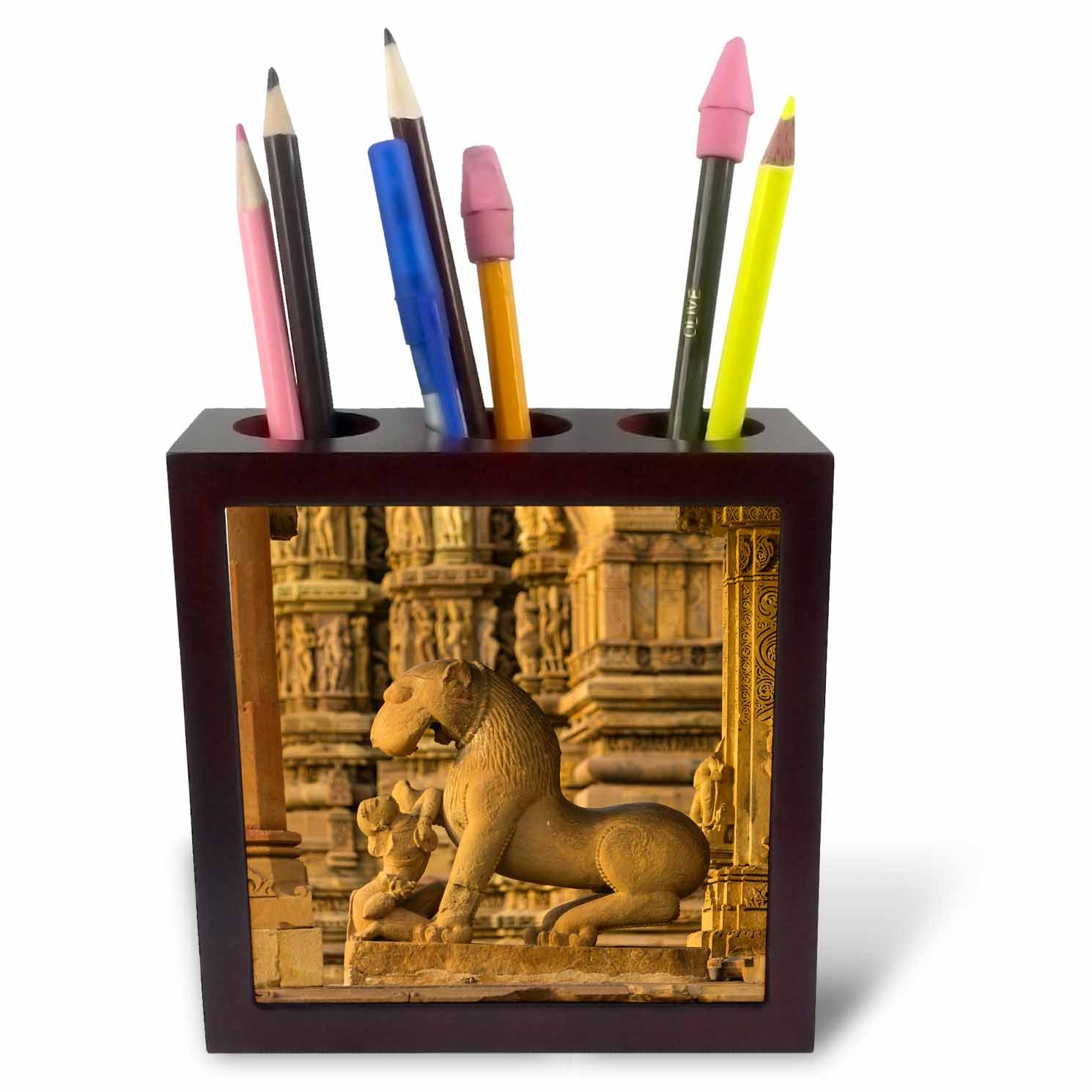 3dRose Danita Delimont - Temples - India. Hindu temples at Khajuraho, Woman with a lion. - 5 inch tile pen holder (ph_276794_1)
