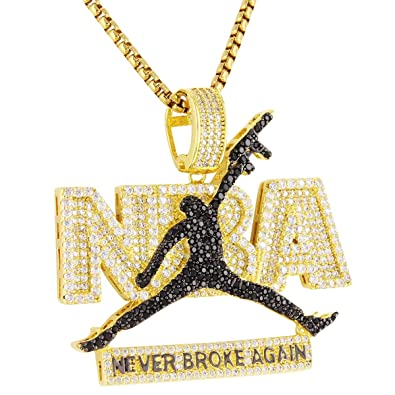 Amazon jumpman custom pendant 14k gold finish simulated diamond amazon jumpman custom pendant 14k gold finish simulated diamond 24 chain never broke again jewelry aloadofball