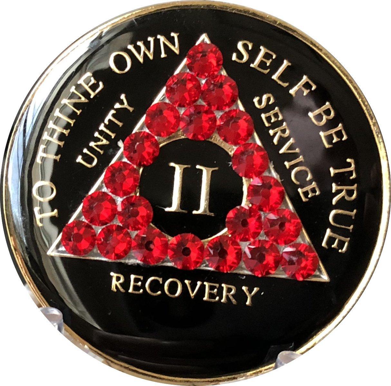2 Year AA Medallion Black Tri-Plate Siam Red Color Swarovski Crystal Chip II
