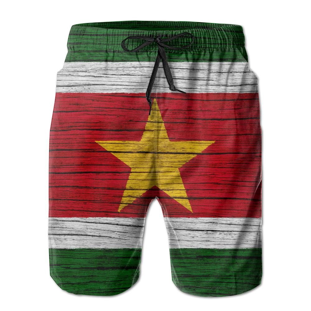 HFSST Suriname Wooden Texture Surinamese Flag Men Kid Male Summer Swimming Pockets Trunks Beachwear Asual Shorts Pants Mesh