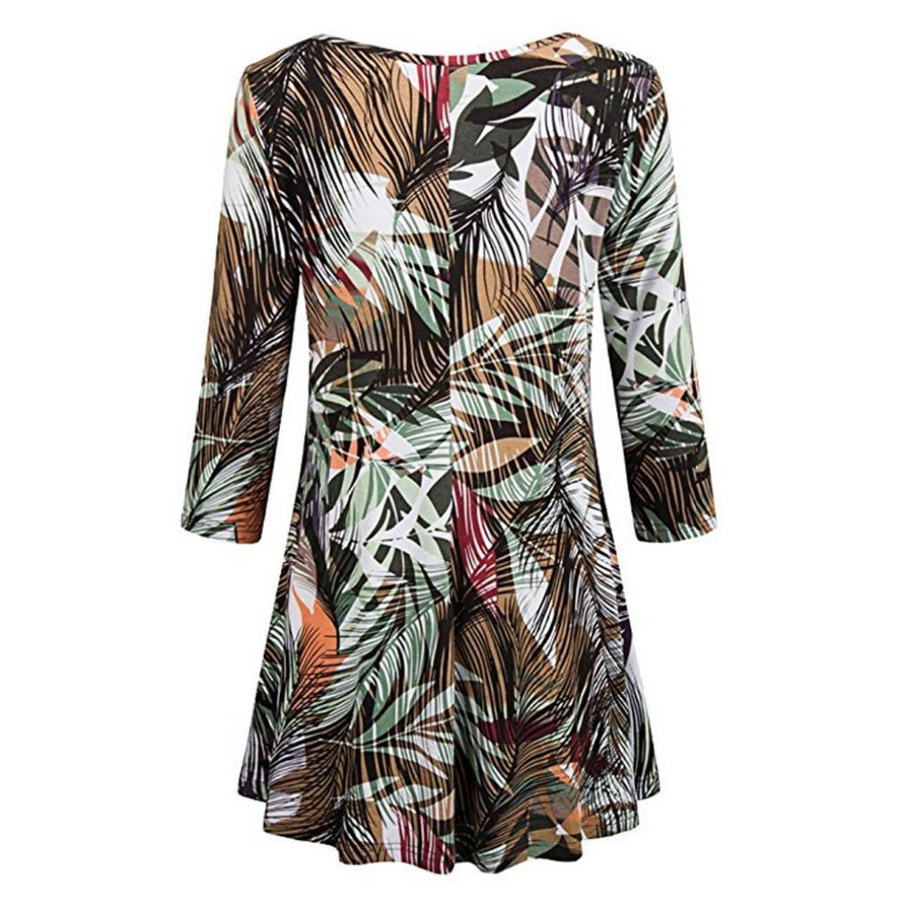 Longra✓ Verano y primavera y otoño de moda para mujer Casual estampado floral camisas 3/4 mangas O-cuello túnica blusa Tops: Amazon.es: Alimentación y ...