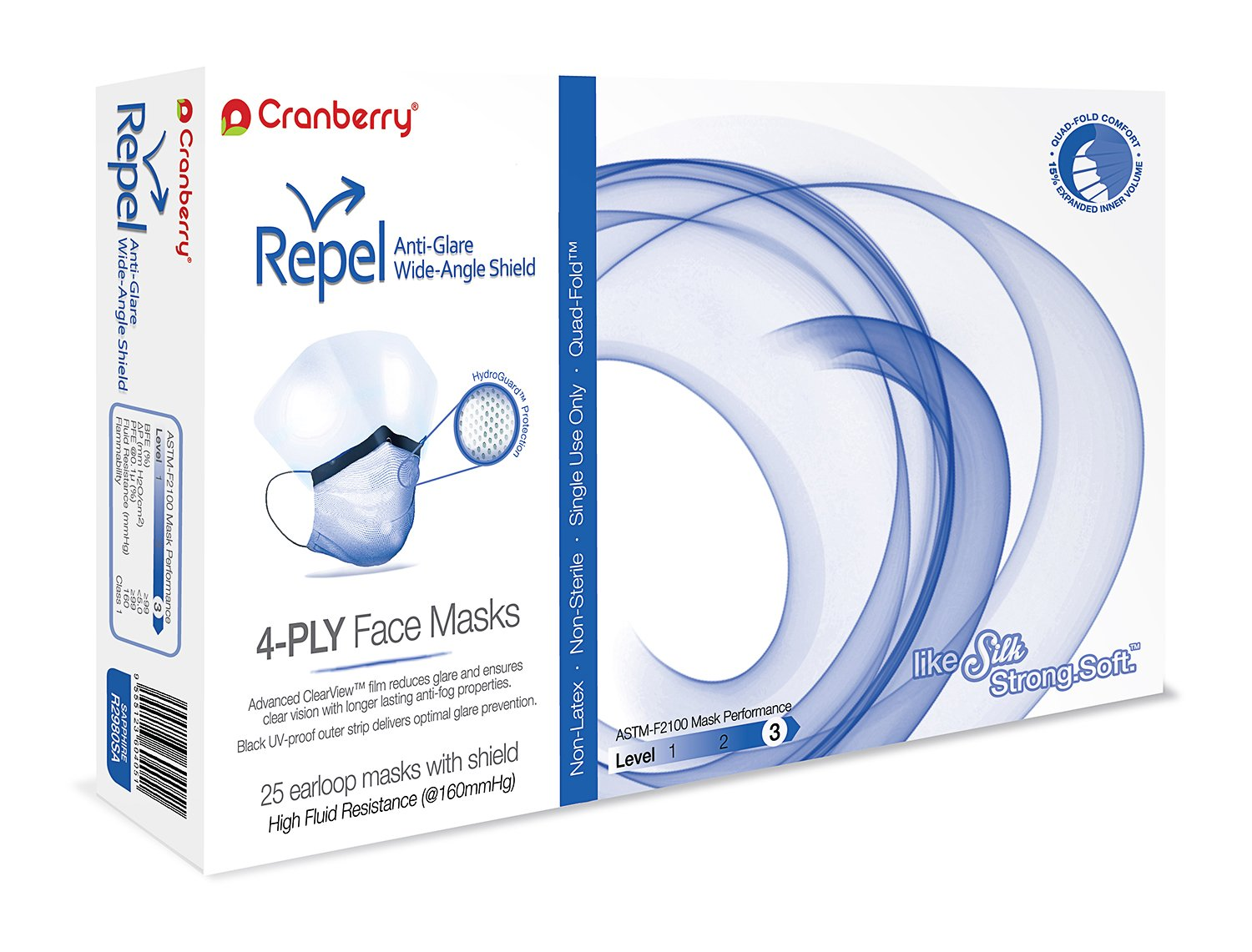 Cranberry USA R2980SAcase Repel 4-Ply Ear Loop Face Mask, Anti-Glare Wide-Angle Shield, ASTM Level 3, Sapphire (Pack of 100)